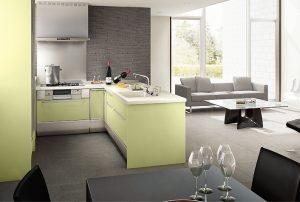 L型の対面キッチン