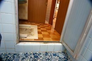 浴室リフォーム前の脱衣室と浴室の段差