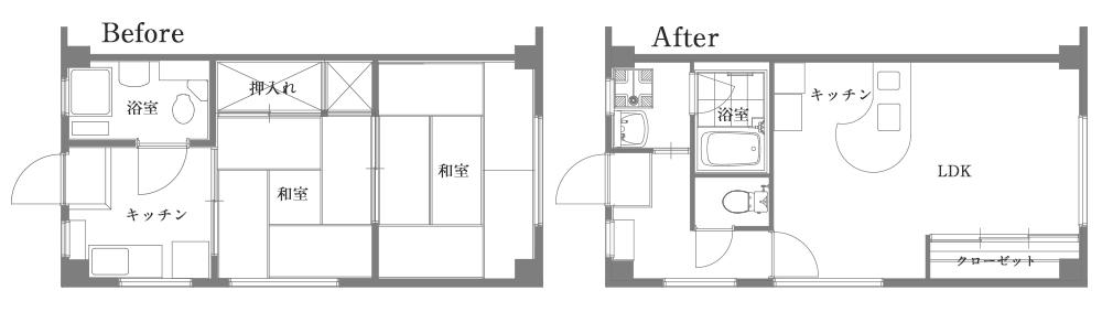 アパートリノベーション ビフォーアフター間取り図面