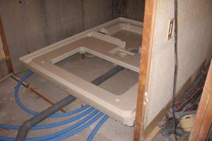 浴室リフォーム中の水道配管