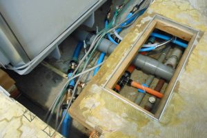 サニタリーの水道配管交換工事後