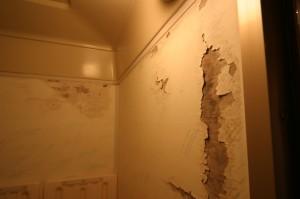 リフォーム前のはがれている浴室壁