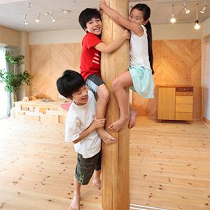 無垢の丸太によじ登り遊ぶ3人兄弟