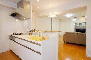 シンクが可愛いデザインのトクラスの対面キッチン