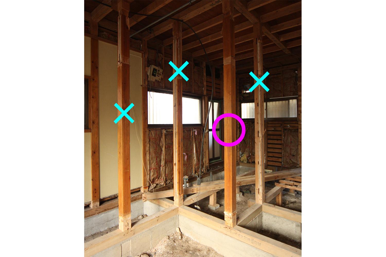 柱を抜く前の柱に位置関係