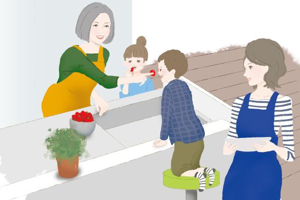 お婆ちゃんを囲んで賑やかなキッチンイラスト